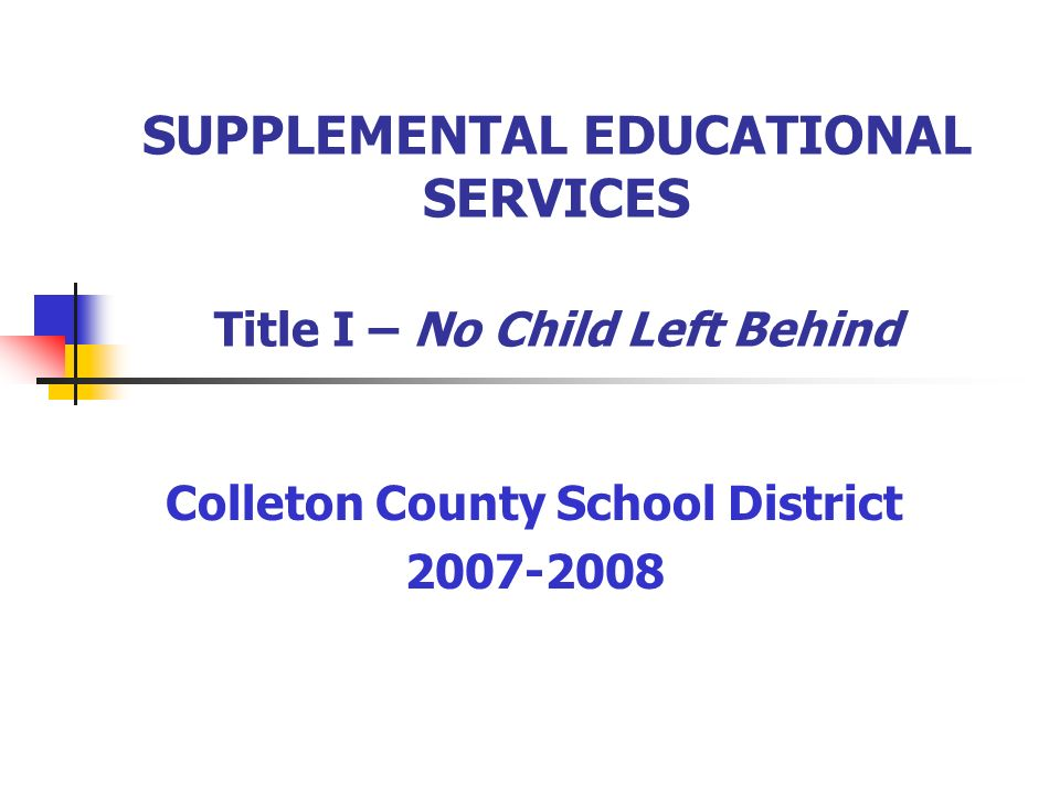 SUPPLEMENTAL EDUCATIONAL SERVICES Title I – No Child Left Behind Colleton County School District 2007-2008