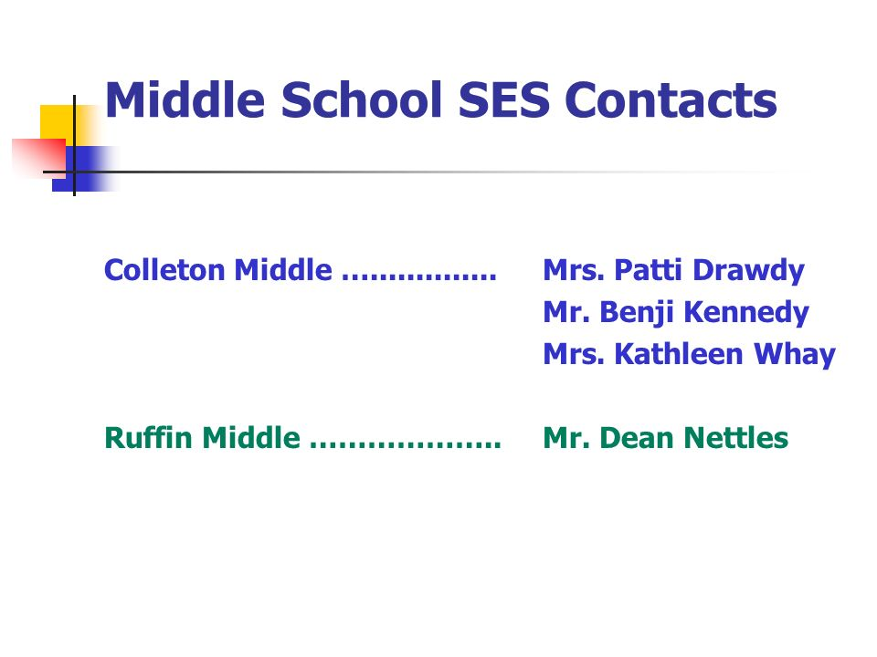 Middle School SES Contacts Colleton Middle …..............Mrs. Patti Drawdy Mr. Benji Kennedy Mrs. Kathleen Whay Ruffin Middle ………………..Mr. Dean Nettle