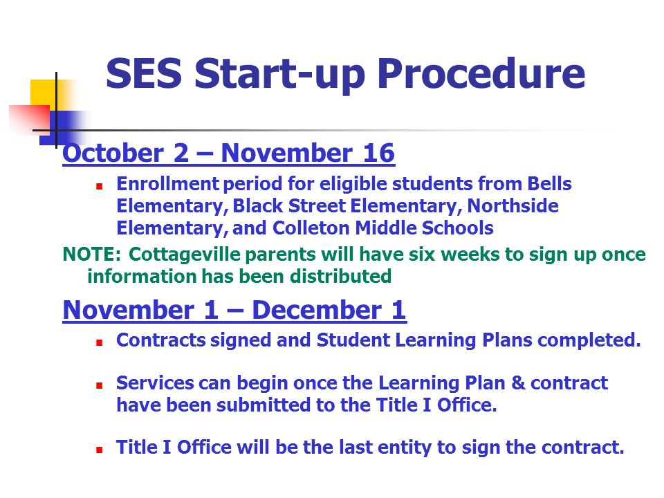 SES Start-up Procedure October 2 – November 16 Enrollment period for eligible students from Bells Elementary, Black Street Elementary, Northside Eleme