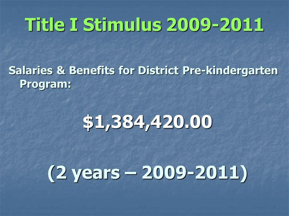 Title I Stimulus Salaries & Benefits for District Pre-kindergarten Program: $1,384, (2 years – )