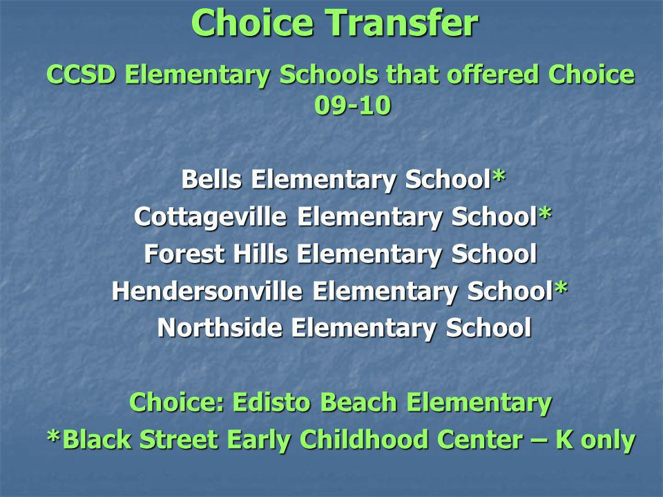 Choice Transfer CCSD Elementary Schools that offered Choice Bells Elementary School* Bells Elementary School* Cottageville Elementary School* Cottageville Elementary School* Forest Hills Elementary School Hendersonville Elementary School* Northside Elementary School Northside Elementary School Choice: Edisto Beach Elementary *Black Street Early Childhood Center – K only