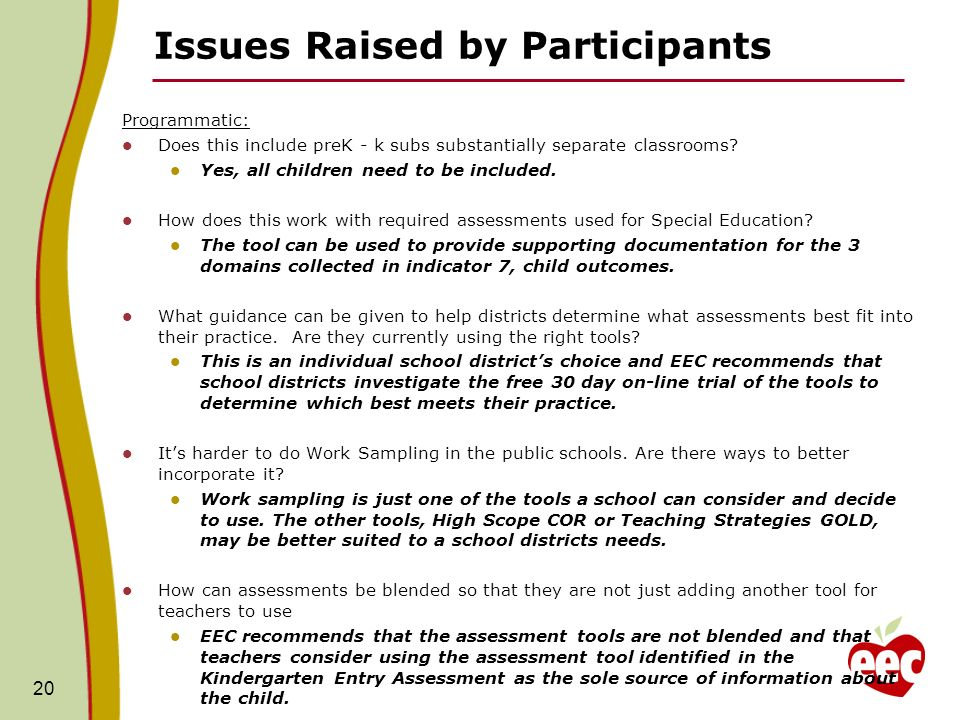 Issues Raised by Participants Programmatic: Does this include preK - k subs substantially separate classrooms.