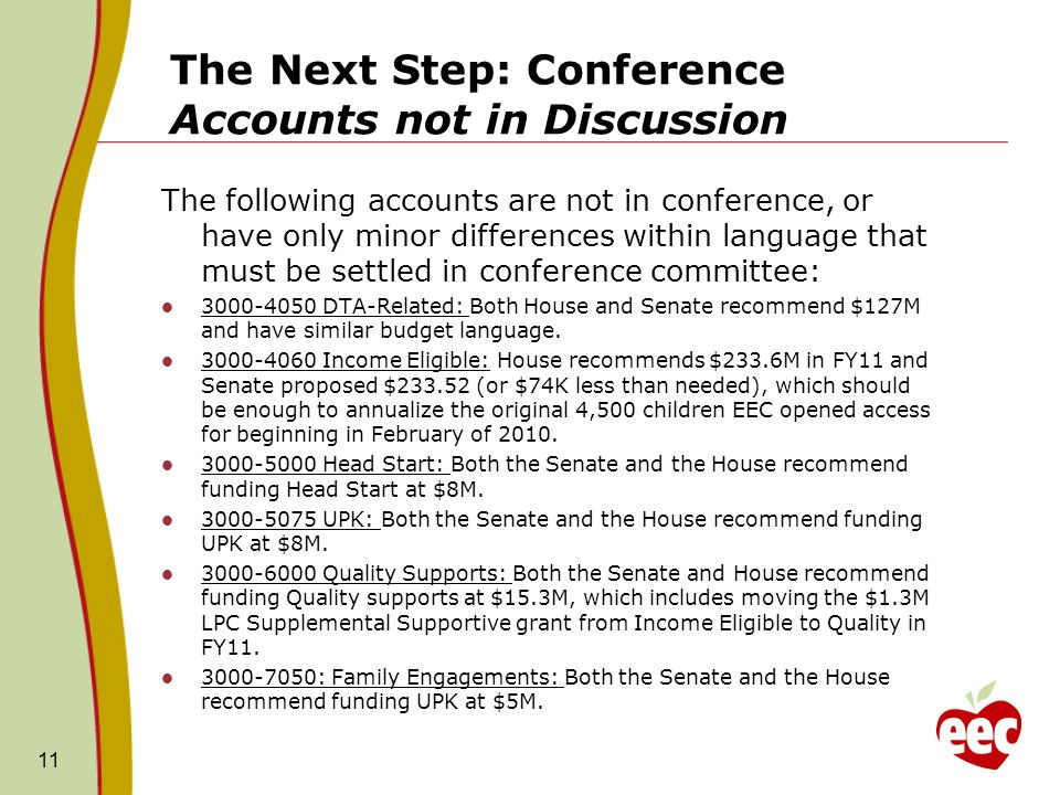 The Next Step: Conference Accounts not in Discussion The following accounts are not in conference, or have only minor differences within language that must be settled in conference committee: 3000-4050 DTA-Related: Both House and Senate recommend $127M and have similar budget language.