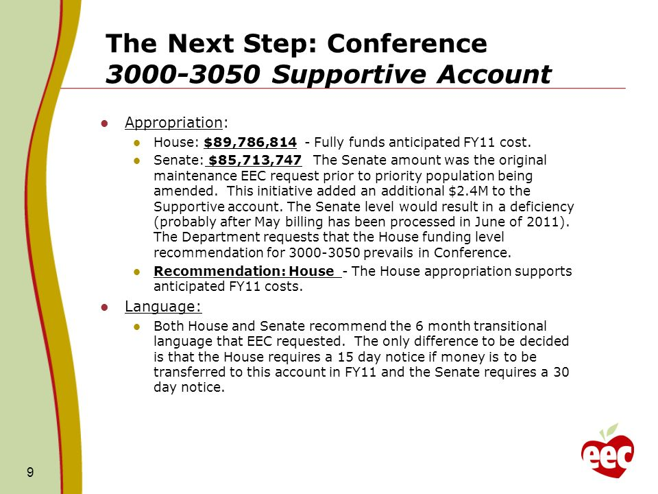 The Next Step: Conference 3000-3050 Supportive Account Appropriation: House: $89,786,814 - Fully funds anticipated FY11 cost.