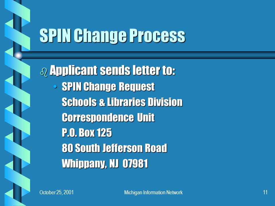 October 25, 2001Michigan Information Network11 SPIN Change Process b Applicant sends letter to: SPIN Change RequestSPIN Change Request Schools & Libra