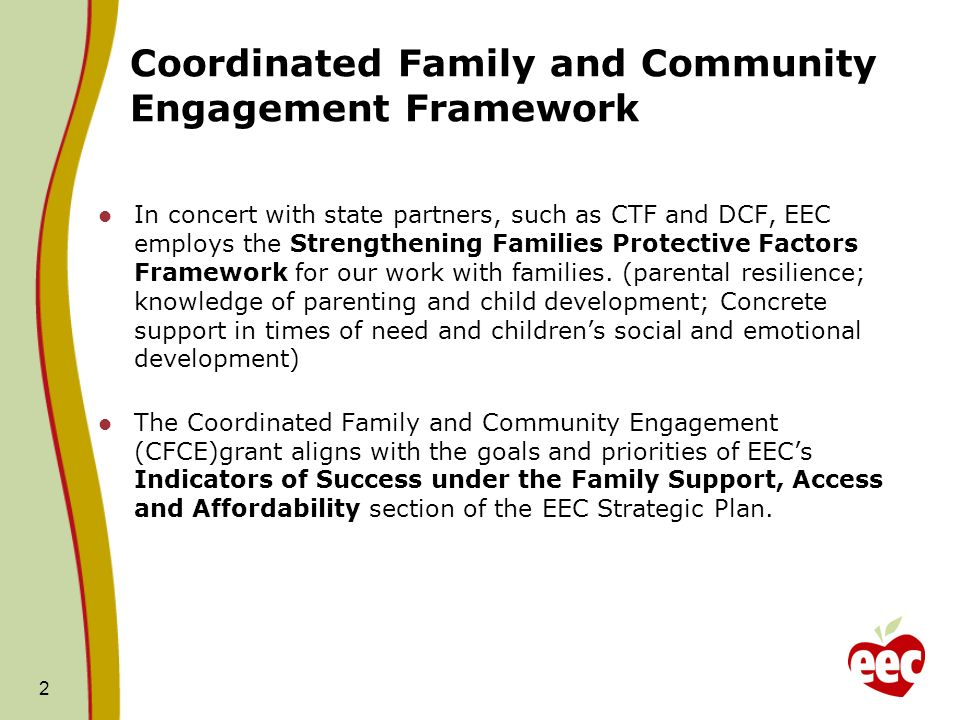 Coordinated Family and Community Engagement Framework In concert with state partners, such as CTF and DCF, EEC employs the Strengthening Families Protective Factors Framework for our work with families.