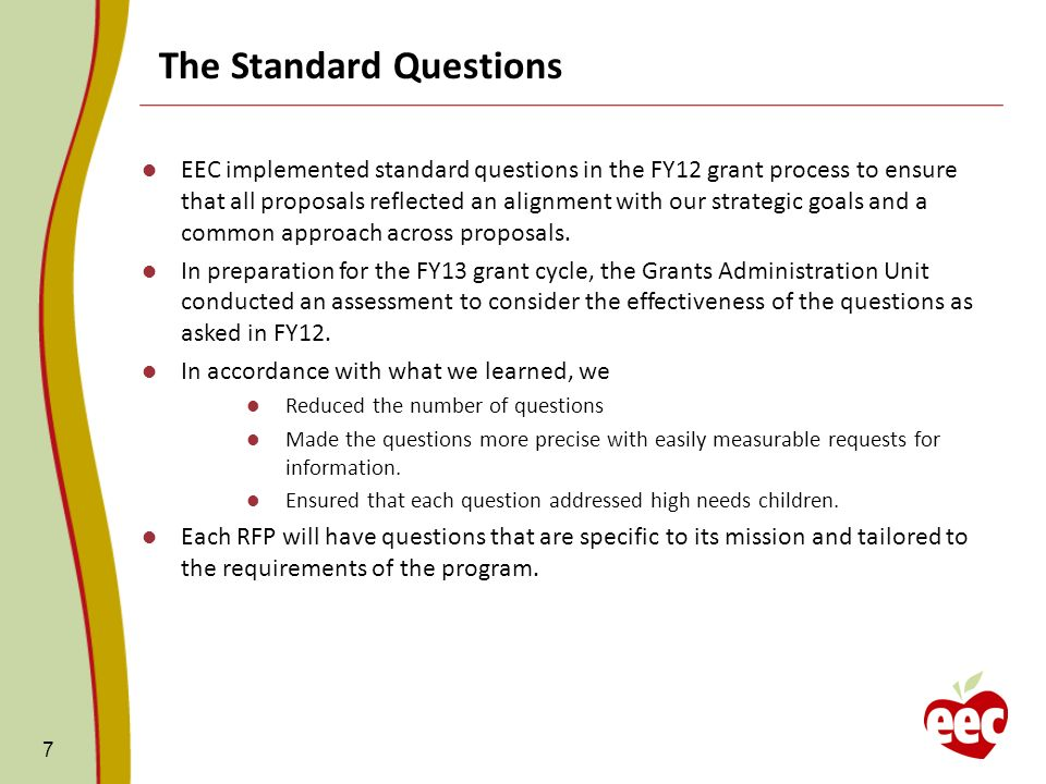 7 The Standard Questions