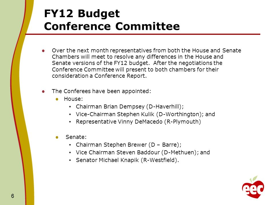 FY12 Budget: H/SWM Comparison 3000-1000 Administrative Account Appropriation: House: $11,683,491- Support our Admin maintenance needs, which include CBA increases, step increases, and anticipated lease increases.