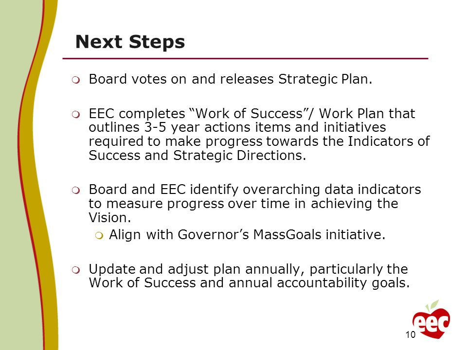 Next Steps Board votes on and releases Strategic Plan. EEC completes Work of Success/ Work Plan that outlines 3-5 year actions items and initiatives r