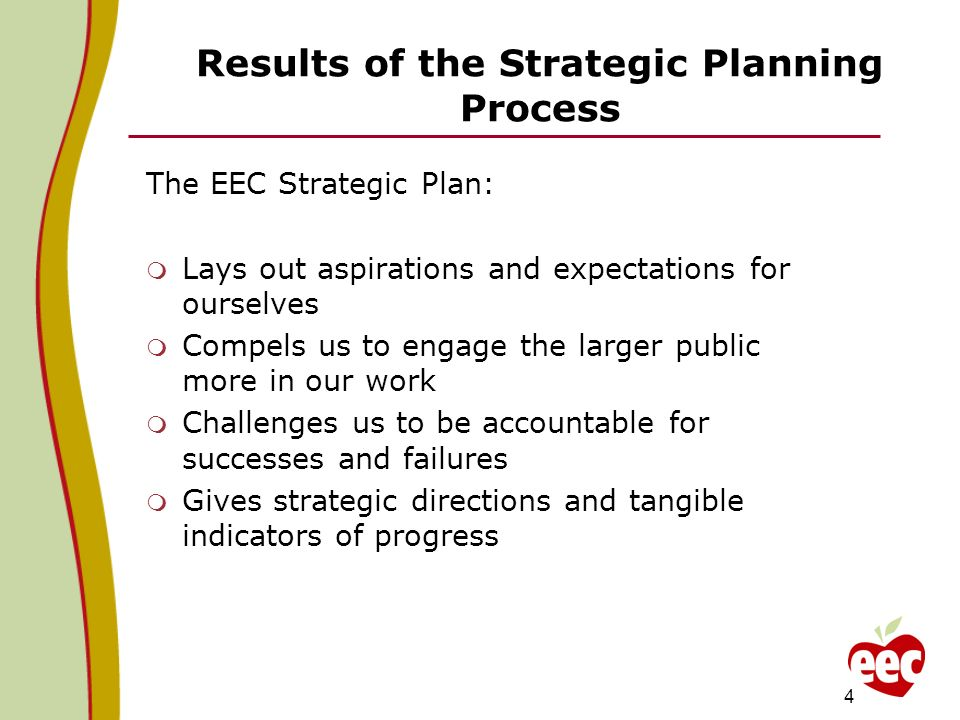 Results of the Strategic Planning Process The EEC Strategic Plan: Lays out aspirations and expectations for ourselves Compels us to engage the larger