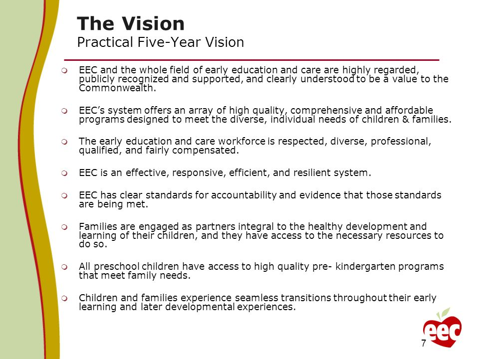 The Vision Practical Five-Year Vision EEC and the whole field of early education and care are highly regarded, publicly recognized and supported, and clearly understood to be a value to the Commonwealth.