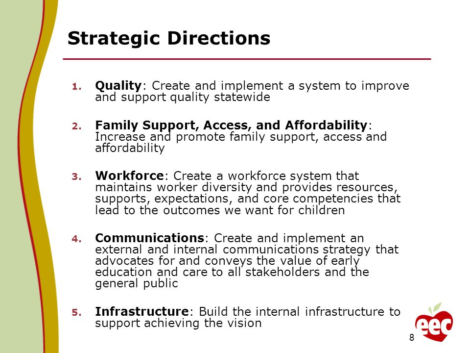 Strategic Directions 1. Quality: Create and implement a system to improve and support quality statewide 2. Family Support, Access, and Affordability: