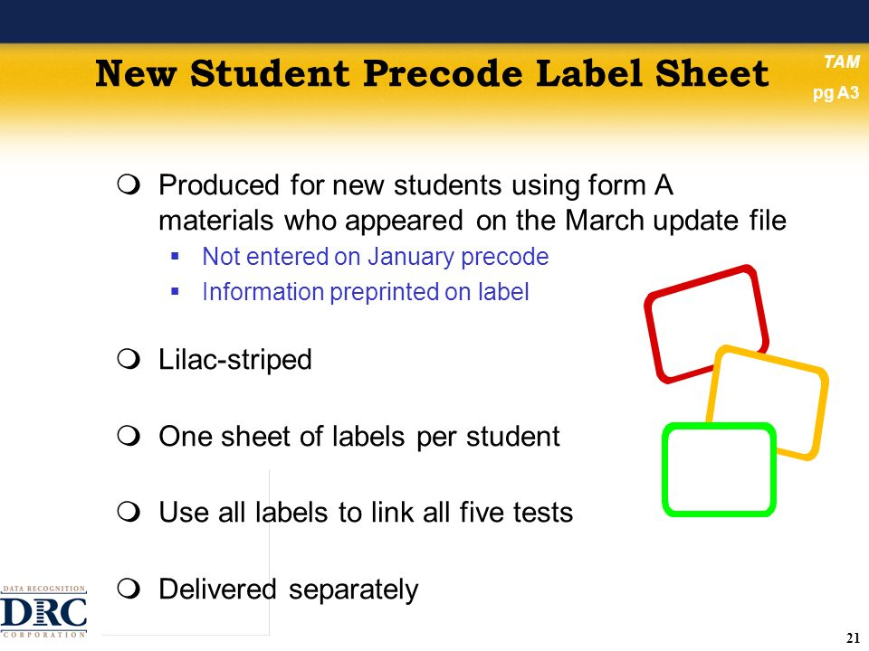 21 New Student Precode Label Sheet Produced for new students using form A materials who appeared on the March update file Not entered on January precode Information preprinted on label Lilac-striped One sheet of labels per student Use all labels to link all five tests Delivered separately TAM pg A3