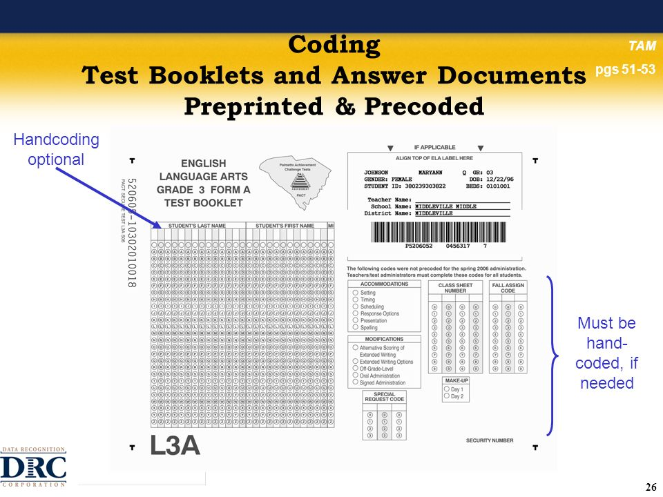 26 Coding Test Booklets and Answer Documents Preprinted & Precoded Handcoding optional Must be hand- coded, if needed TAM pgs 51-53