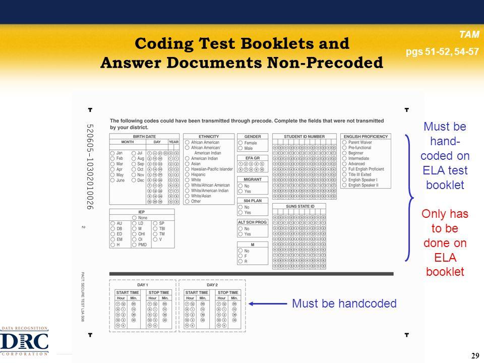 29 Coding Test Booklets and Answer Documents Non-Precoded TAM pgs 51-52, 54-57 Must be handcoded Must be hand- coded on ELA test booklet Only has to be done on ELA booklet