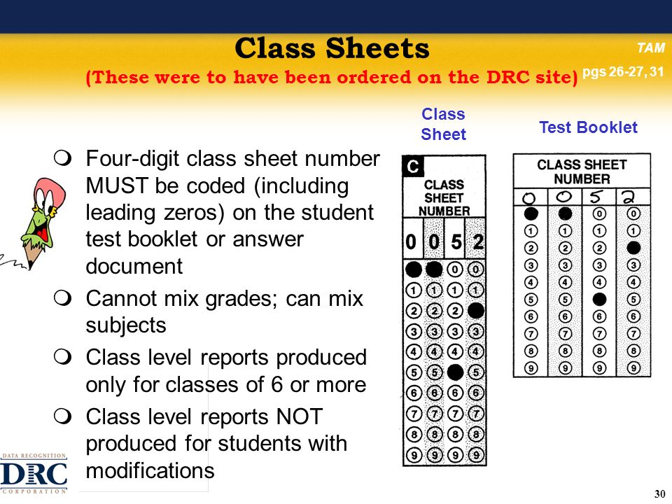 30 Class Sheets (These were to have been ordered on the DRC site) Four-digit class sheet number MUST be coded (including leading zeros) on the student test booklet or answer document Cannot mix grades; can mix subjects Class level reports produced only for classes of 6 or more Class level reports NOT produced for students with modifications Class Sheet Test Booklet TAM pgs 26-27, 31