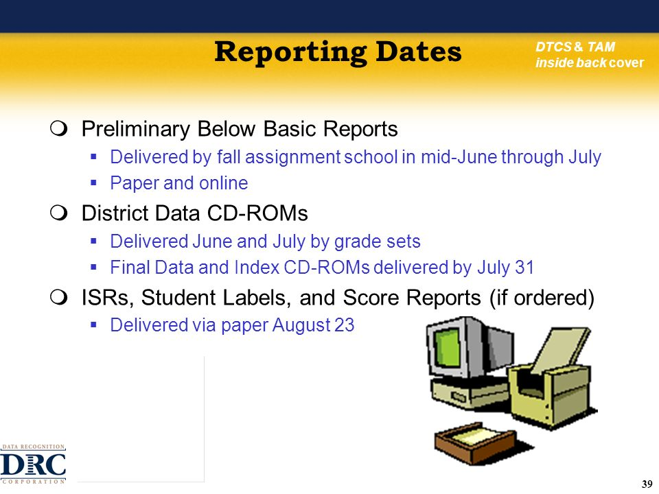 39 Reporting Dates Preliminary Below Basic Reports Delivered by fall assignment school in mid-June through July Paper and online District Data CD-ROMs Delivered June and July by grade sets Final Data and Index CD-ROMs delivered by July 31 ISRs, Student Labels, and Score Reports (if ordered) Delivered via paper August 23 DTCS & TAM inside back cover