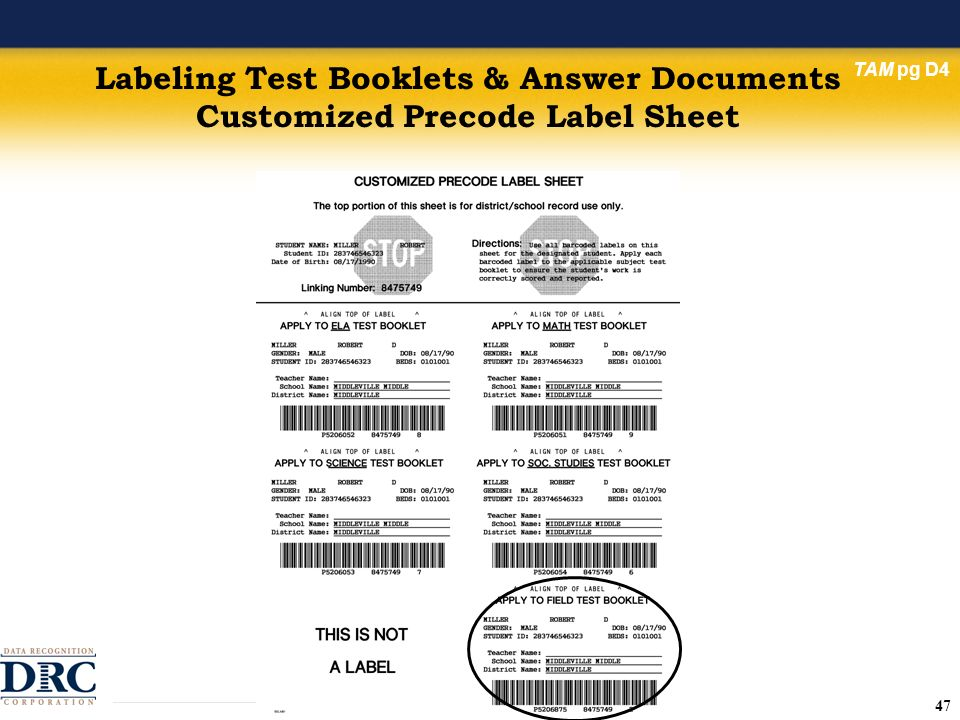 47 Labeling Test Booklets & Answer Documents Customized Precode Label Sheet TAM pg D4