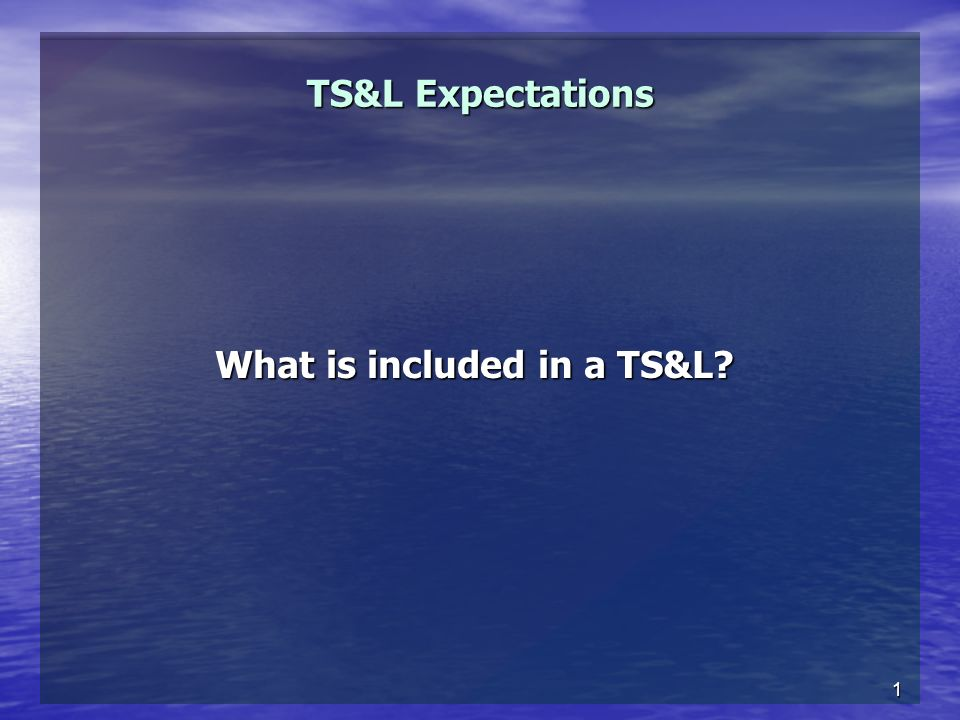 1 TS&L Expectations What is included in a TS&L?