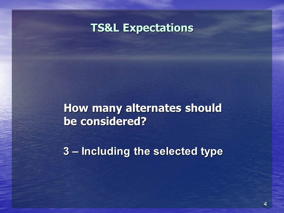 4 TS&L Expectations How many alternates should be considered? 3 – Including the selected type