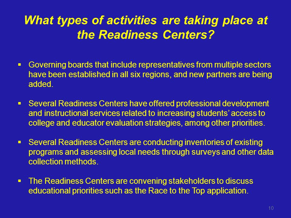 What types of activities are taking place at the Readiness Centers.