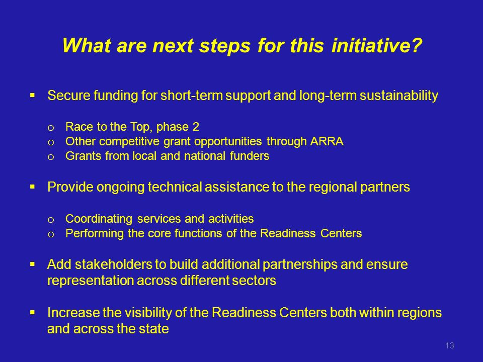 What are next steps for this initiative.