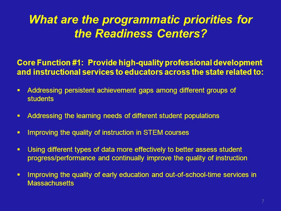 What are the programmatic priorities for the Readiness Centers.