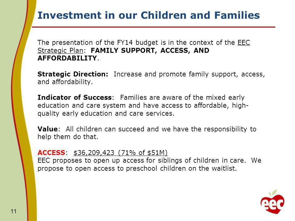 Investment in our Children and Families The presentation of the FY14 budget is in the context of the EEC Strategic Plan: FAMILY SUPPORT, ACCESS, AND AFFORDABILITY.