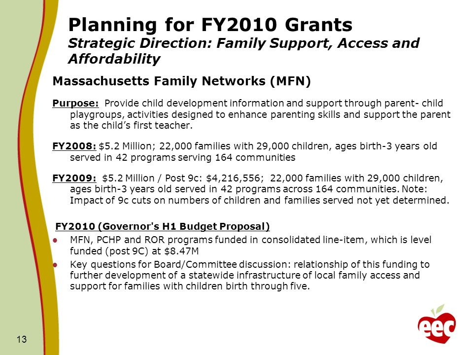 Planning for FY2010 Grants Strategic Direction: Family Support, Access and Affordability Massachusetts Family Networks (MFN) Purpose: Provide child development information and support through parent- child playgroups, activities designed to enhance parenting skills and support the parent as the childs first teacher.