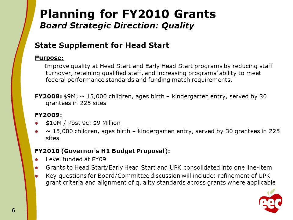 Planning for FY2010 Grants Board Strategic Direction: Quality State Supplement for Head Start Purpose: Improve quality at Head Start and Early Head Start programs by reducing staff turnover, retaining qualified staff, and increasing programs ability to meet federal performance standards and funding match requirements.