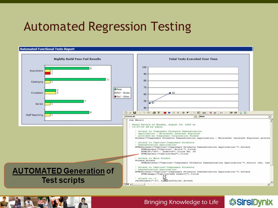 Automated Regression Testing AUTOMATED Generation of Test scripts