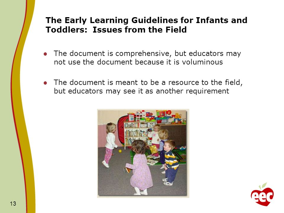 The Early Learning Guidelines for Infants and Toddlers: Issues from the Field The document is comprehensive, but educators may not use the document because it is voluminous The document is meant to be a resource to the field, but educators may see it as another requirement 13