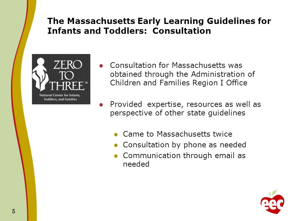 The Massachusetts Early Learning Guidelines for Infants and Toddlers: Consultation Consultation for Massachusetts was obtained through the Administration of Children and Families Region I Office Provided expertise, resources as well as perspective of other state guidelines Came to Massachusetts twice Consultation by phone as needed Communication through  as needed 5