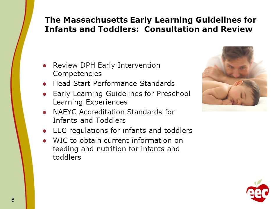 The Massachusetts Early Learning Guidelines for Infants and Toddlers: Consultation and Review Review DPH Early Intervention Competencies Head Start Performance Standards Early Learning Guidelines for Preschool Learning Experiences NAEYC Accreditation Standards for Infants and Toddlers EEC regulations for infants and toddlers WIC to obtain current information on feeding and nutrition for infants and toddlers 6