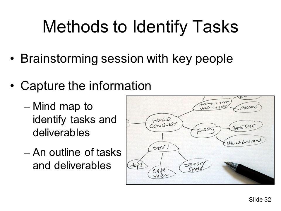 Slide 32 Brainstorming session with key people Capture the information –Mind map to identify tasks and deliverables –An outline of tasks and deliverab