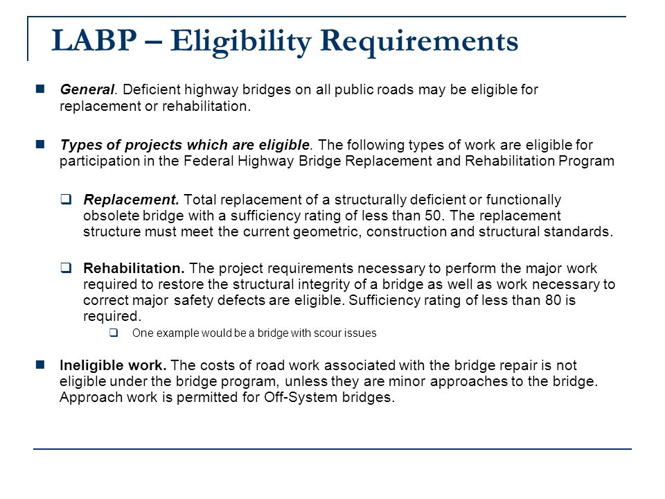 LABP – Eligibility Requirements General.