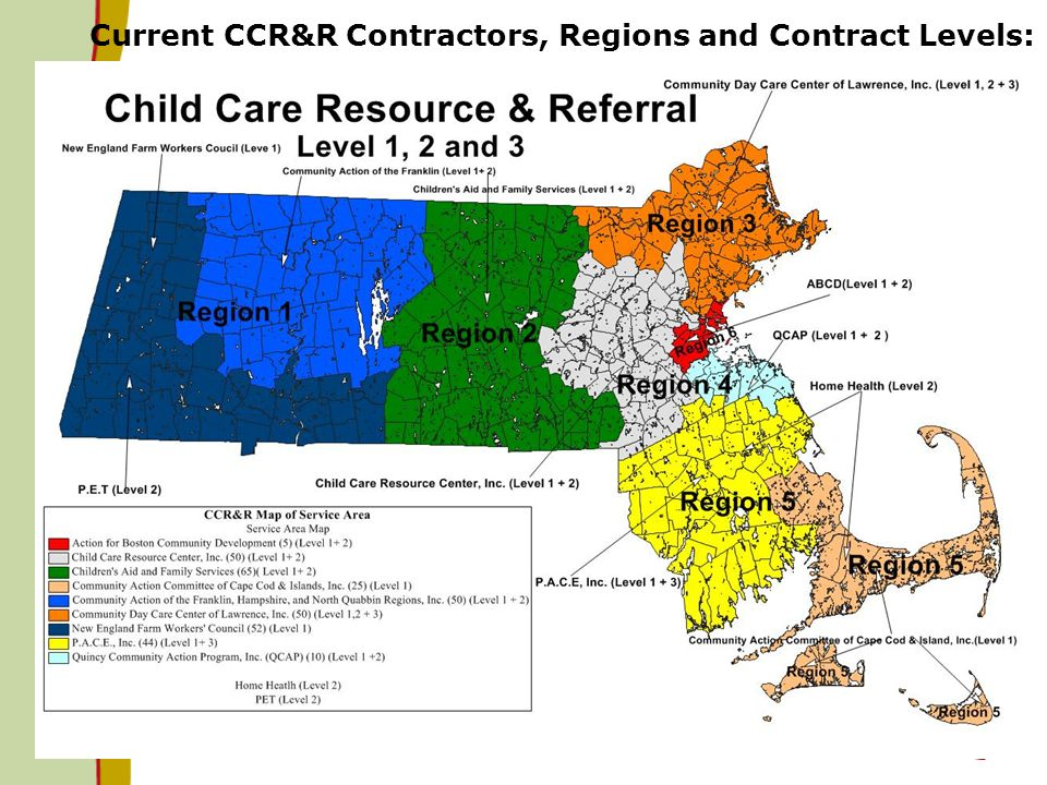 Current CCR&R Contractors, Regions and Contract Levels: 3