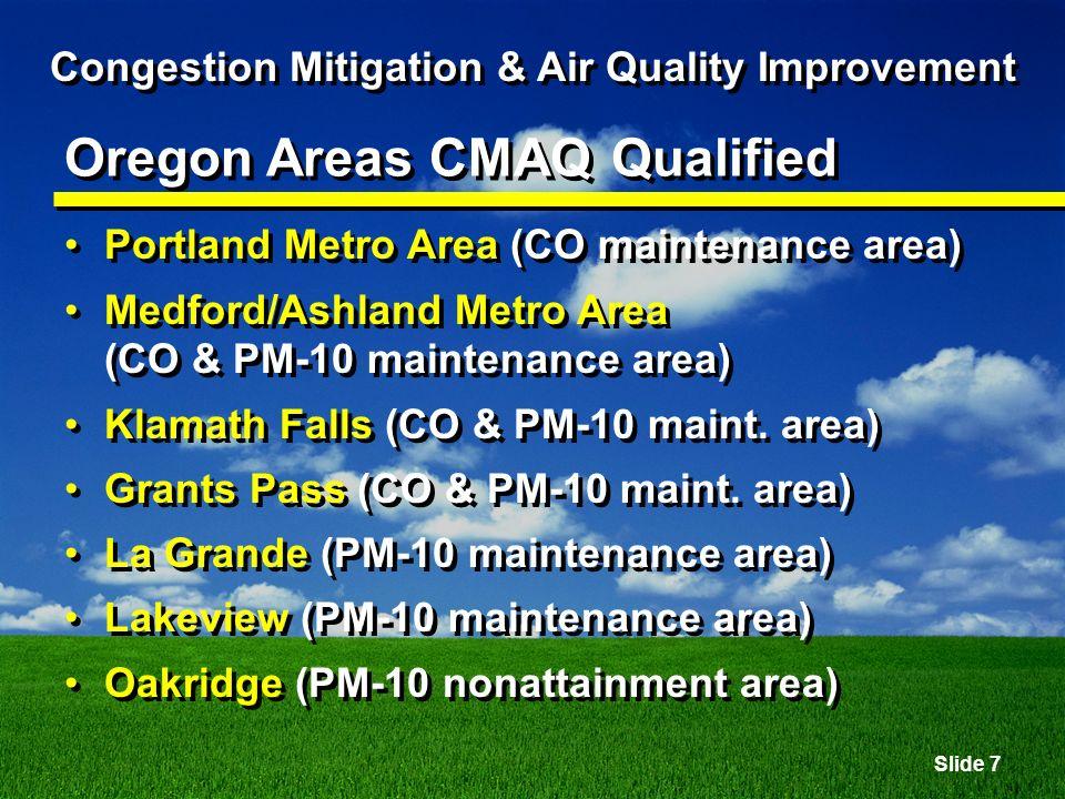 Slide 8 Congestion Mitigation & Air Quality Improvement Not Qualified Areas which were designated nonattainment prior to Dec.