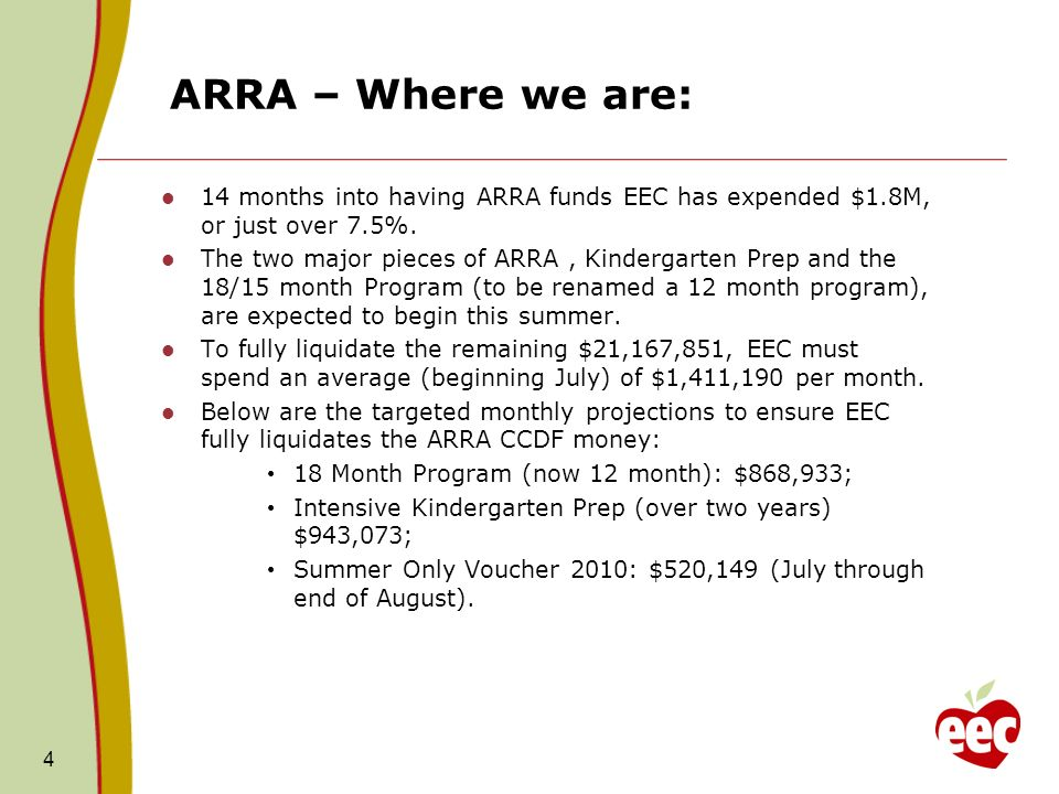 ARRA – Where we are: 14 months into having ARRA funds EEC has expended $1.8M, or just over 7.5%. The two major pieces of ARRA, Kindergarten Prep and t