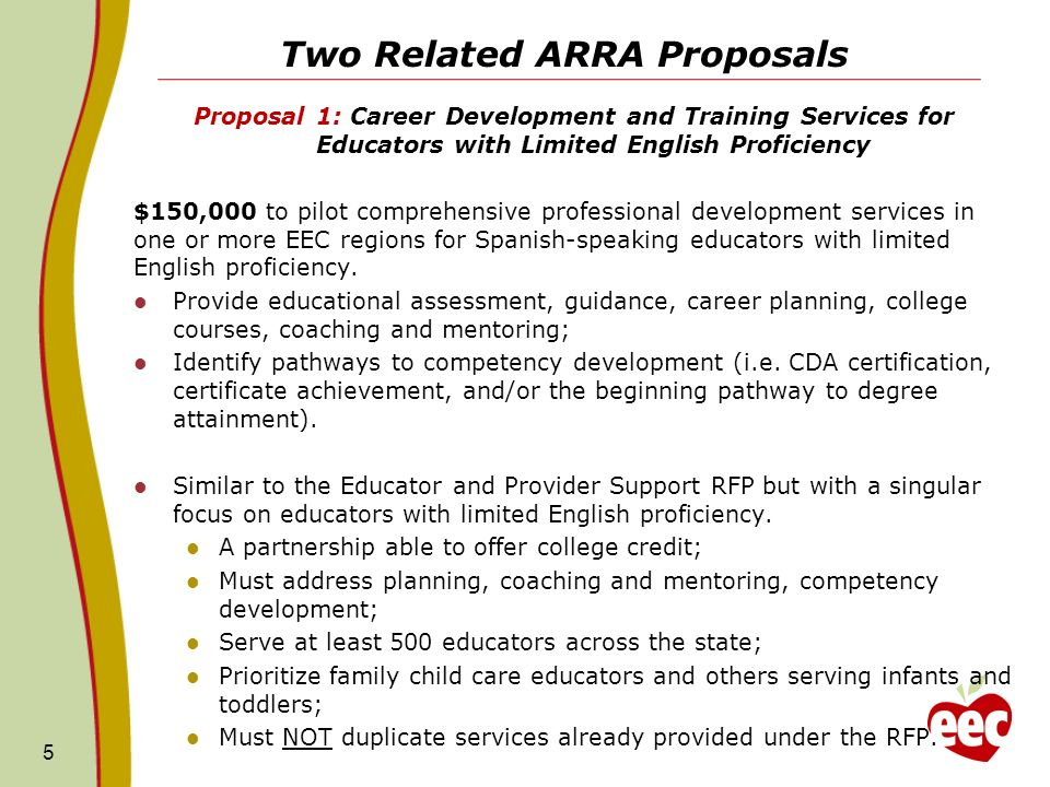 Two Related ARRA Proposals Proposal 1: Career Development and Training Services for Educators with Limited English Proficiency $150,000 to pilot comprehensive professional development services in one or more EEC regions for Spanish-speaking educators with limited English proficiency.