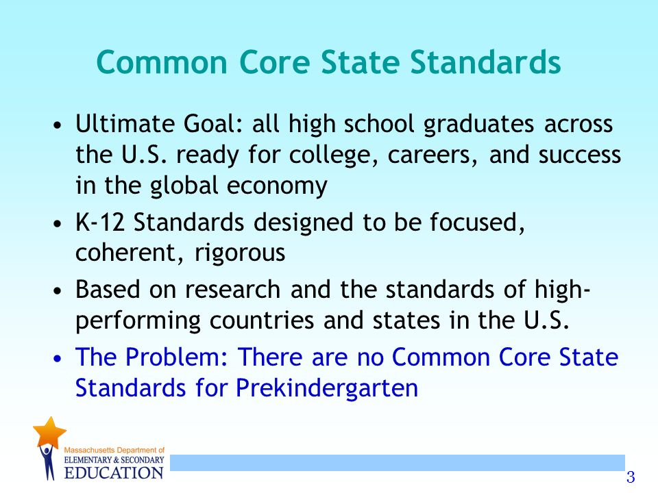 3 Common Core State Standards Ultimate Goal: all high school graduates across the U.S.