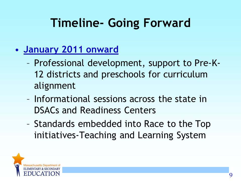 9 January 2011 onward –Professional development, support to Pre-K- 12 districts and preschools for curriculum alignment –Informational sessions across the state in DSACs and Readiness Centers –Standards embedded into Race to the Top initiatives-Teaching and Learning System Timeline- Going Forward