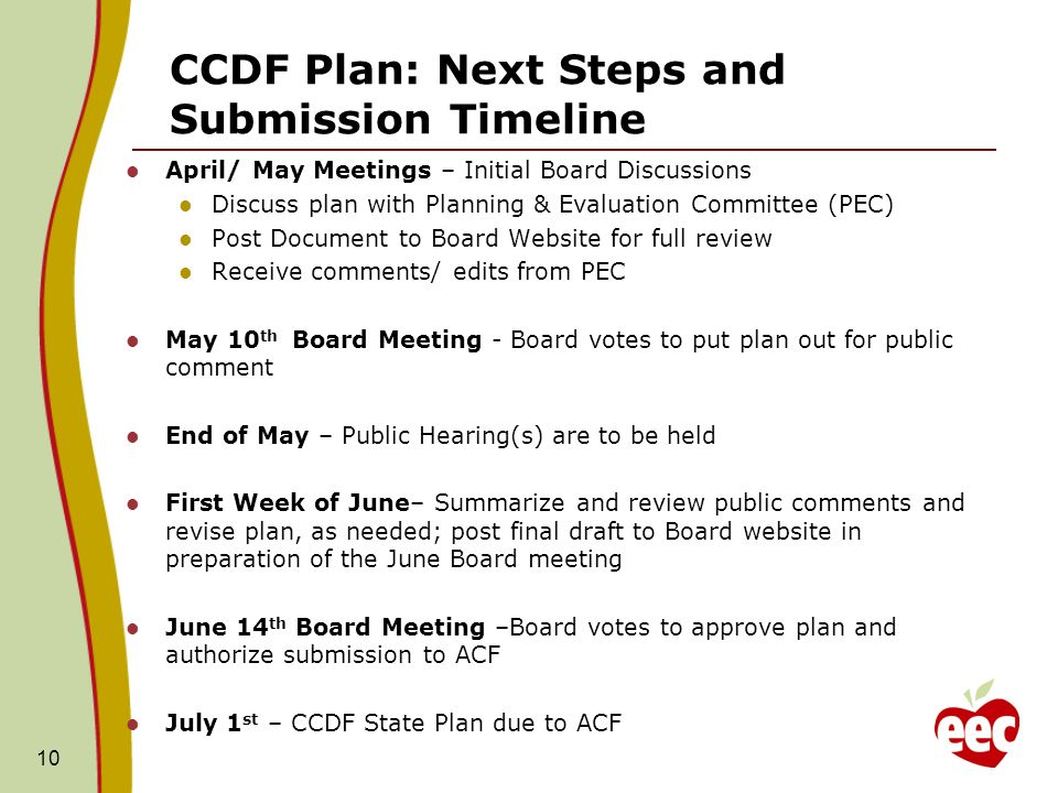 10 CCDF Plan: Next Steps and Submission Timeline April/ May Meetings – Initial Board Discussions Discuss plan with Planning & Evaluation Committee (PEC) Post Document to Board Website for full review Receive comments/ edits from PEC May 10 th Board Meeting - Board votes to put plan out for public comment End of May – Public Hearing(s) are to be held First Week of June– Summarize and review public comments and revise plan, as needed; post final draft to Board website in preparation of the June Board meeting June 14 th Board Meeting –Board votes to approve plan and authorize submission to ACF July 1 st – CCDF State Plan due to ACF