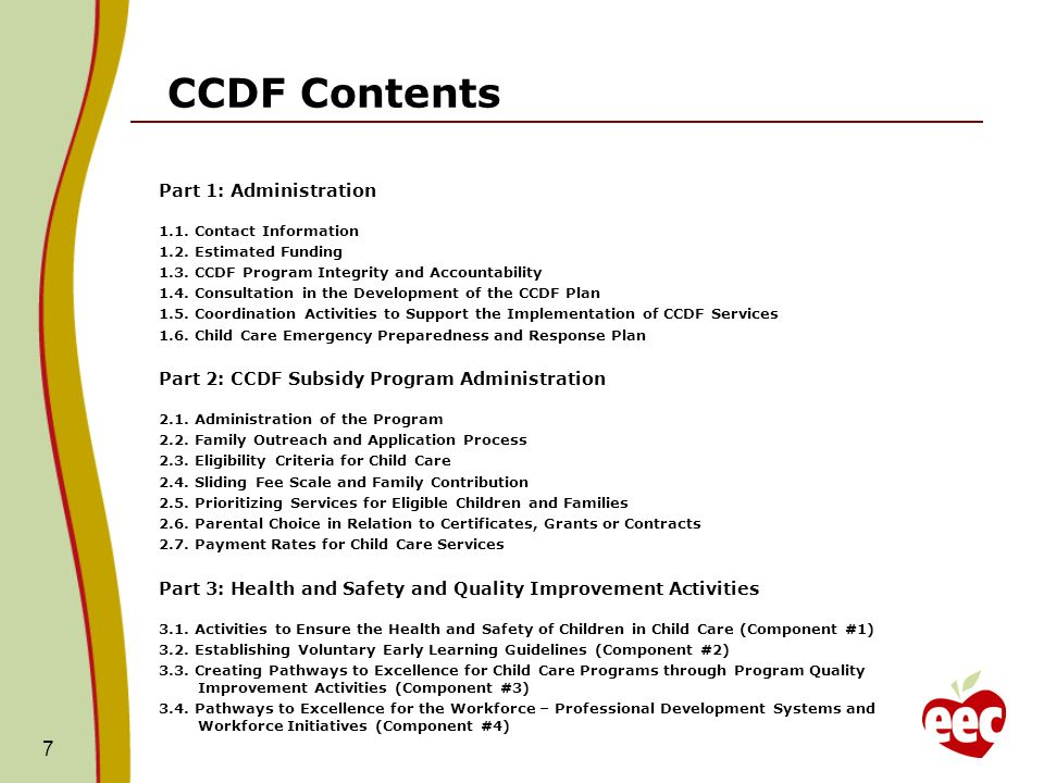Whats New in the CCDF Plan Consolidated Format – from 6 to 3 Parts Effort to Improve National CCDF Reporting Responses seek more check boxes and less narrative Focus on Child Care Quality and CCDF Program Integrity Data and Performance Measure Reporting with Annual Updates on Goals E-Submission Process 8