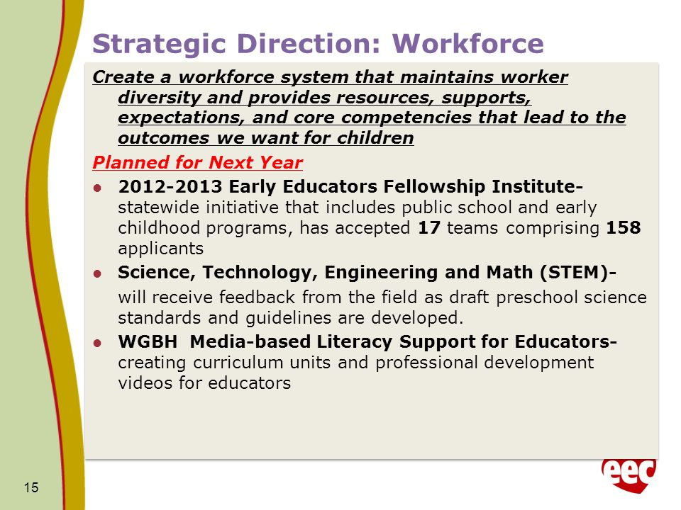 Strategic Direction: Workforce Create a workforce system that maintains worker diversity and provides resources, supports, expectations, and core competencies that lead to the outcomes we want for children Planned for Next Year 2012-2013 Early Educators Fellowship Institute- statewide initiative that includes public school and early childhood programs, has accepted 17 teams comprising 158 applicants Science, Technology, Engineering and Math (STEM)- will receive feedback from the field as draft preschool science standards and guidelines are developed.