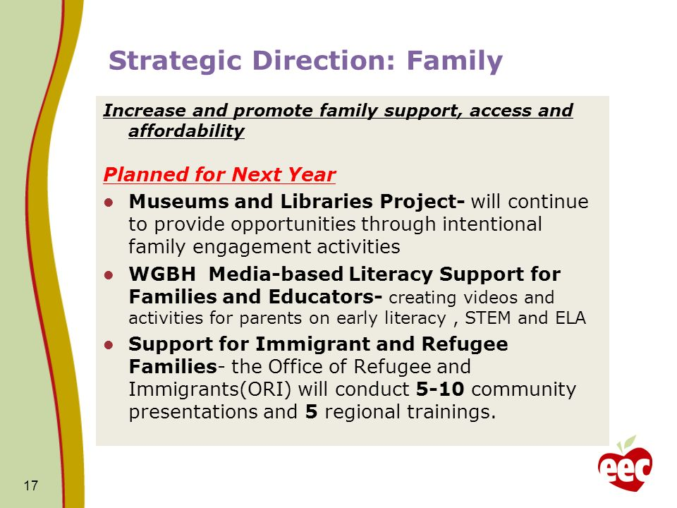 Strategic Direction: Family Increase and promote family support, access and affordability Planned for Next Year Museums and Libraries Project- will continue to provide opportunities through intentional family engagement activities WGBH Media-based Literacy Support for Families and Educators- creating videos and activities for parents on early literacy, STEM and ELA Support for Immigrant and Refugee Families- the Office of Refugee and Immigrants(ORI) will conduct 5-10 community presentations and 5 regional trainings.