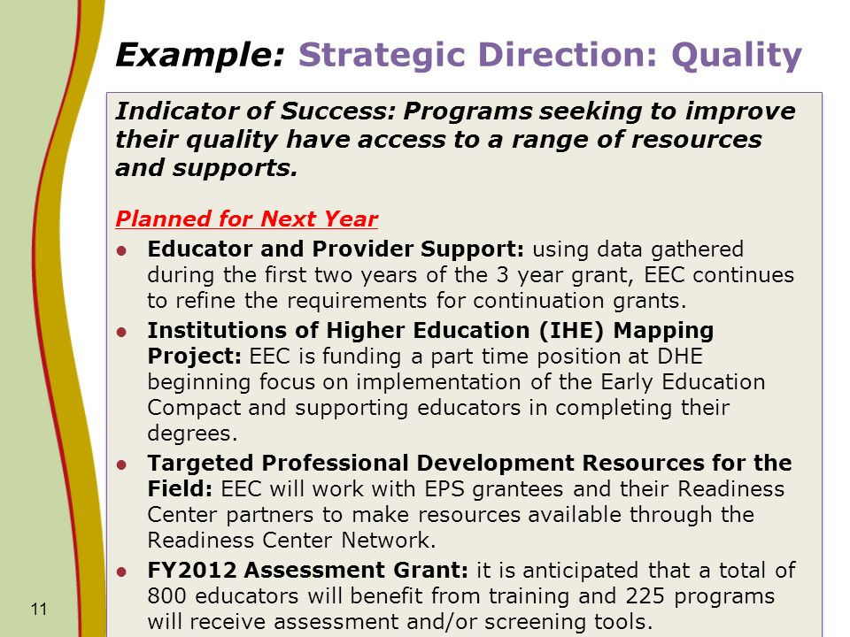 Example: Strategic Direction: Quality Indicator of Success: Programs seeking to improve their quality have access to a range of resources and supports