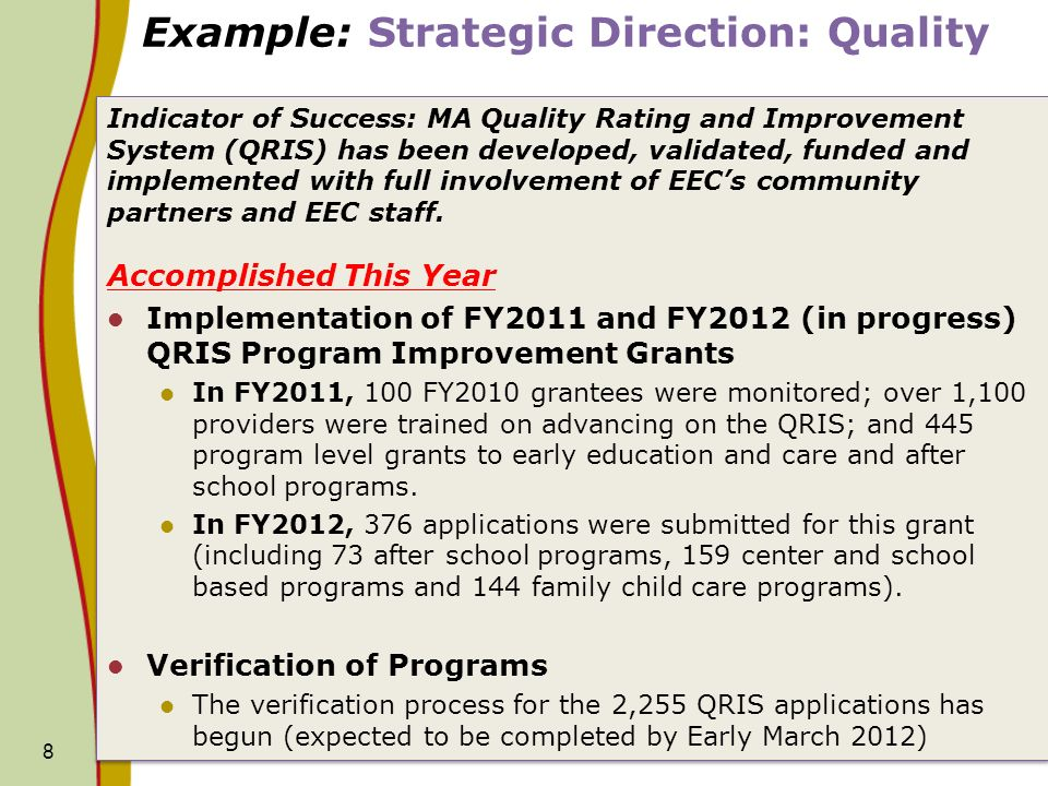 Example: Strategic Direction: Quality Indicator of Success: MA Quality Rating and Improvement System (QRIS) has been developed, validated, funded and implemented with full involvement of EECs community partners and EEC staff.
