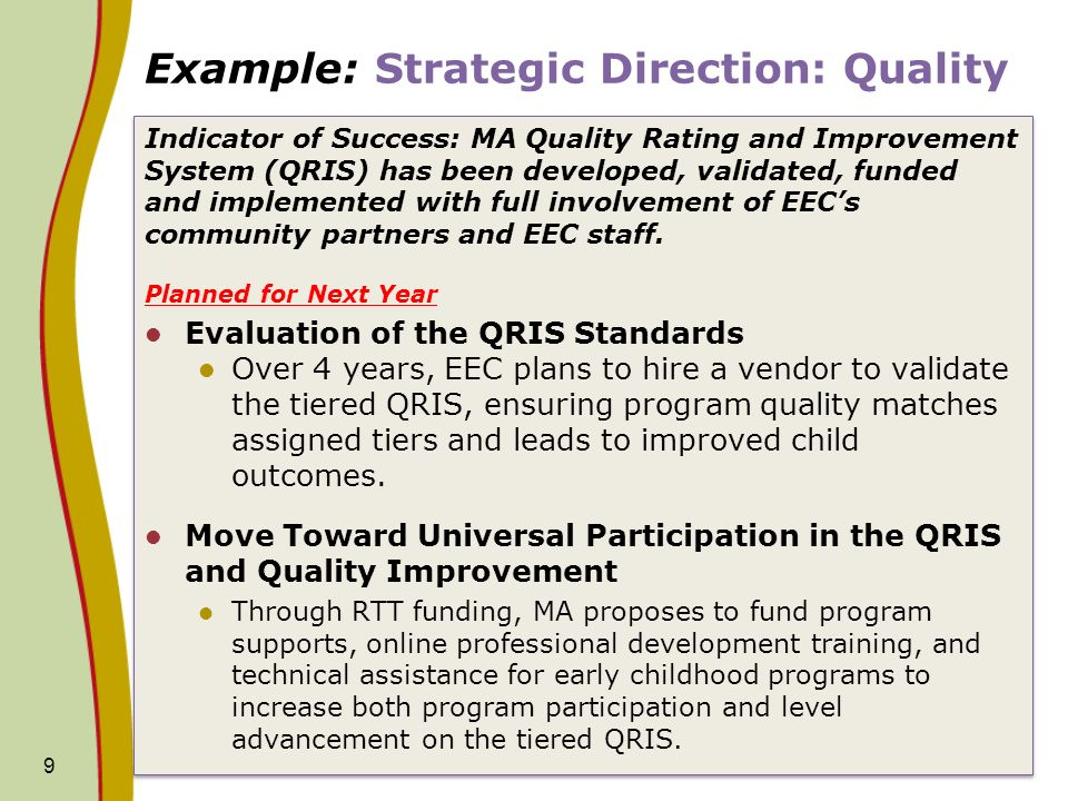 Example: Strategic Direction: Quality Indicator of Success: MA Quality Rating and Improvement System (QRIS) has been developed, validated, funded and