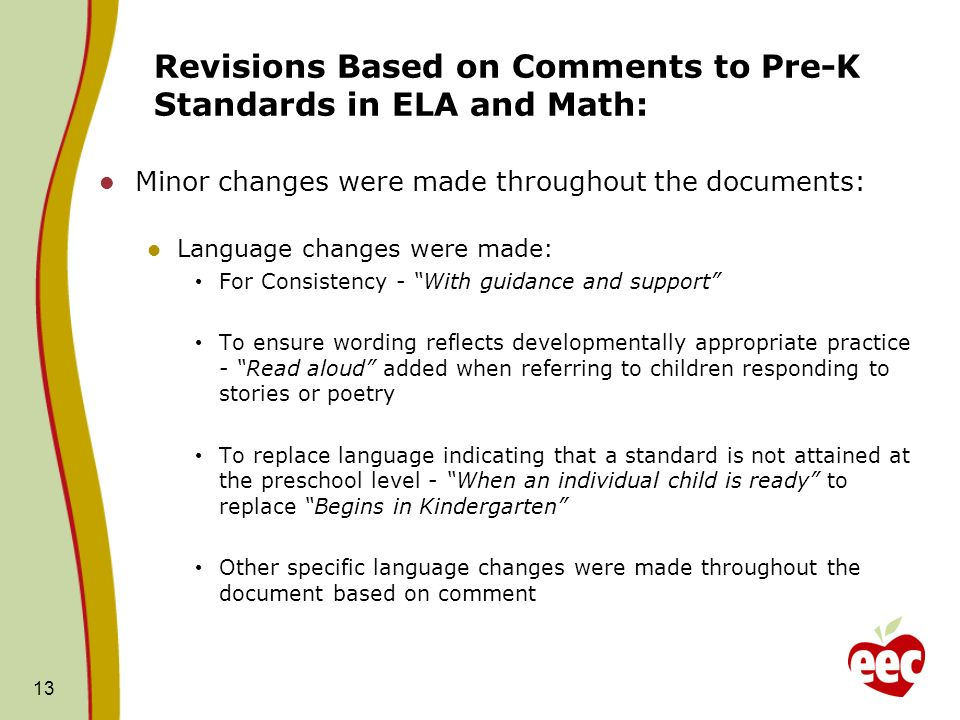 Revisions Based on Comments to Pre-K Standards in ELA and Math: Minor changes were made throughout the documents: Language changes were made: For Cons